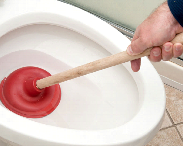 unblock a toilet
